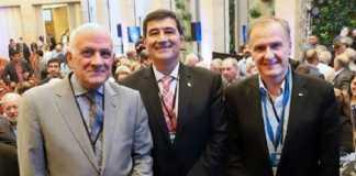 El nuevo presidente de CAME, Gerardo Díaz Beltrán, junto al titular saliente, Fabián Tarrío y al secretario general, José Bereciartúa.